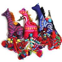 Baumwolle Hängende Dekoration, mit Wolle & Holz & Eisen & Zinklegierung, Giraffe, gemischte Farben, 13x6cm, 22cm, 20PCs/Menge, verkauft von Menge