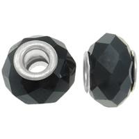 European Kristall Perlen, Rondell, Messing-Dual-Core ohne troll & facettierte, Jet schwarz, 13x10mm, Bohrung:ca. 5mm, 20PCs/Tasche, verkauft von Tasche