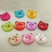 Kunststoff Knopf, Katze, Doppelloch, keine, 13mm, Bohrung:ca. 1-2mm, 50PCs/Tasche, verkauft von Tasche