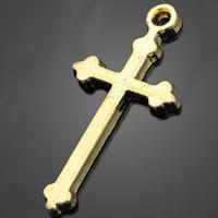 Zinklegierung Kreuz Anhänger, antike Goldfarbe plattiert, frei von Nickel, Blei & Kadmium, 14.60x29.30mm, Bohrung:ca. 1-3mm, 1000PCs/Menge, verkauft von Menge