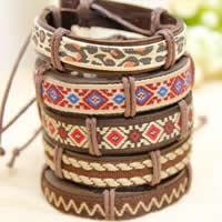 Rindsleder Armband, Kuhhaut, mit Nylonband & Wachsschnur, gemischte Farben, 13mm, Länge:5.5-7 ZollInch, 50SträngeStrang/Menge, verkauft von Menge