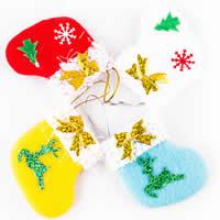 Weihnachtsferien Strümpfe Geschenk Socken, Baumwollsamt, mit elastische Nylonschnur, Weihnachtssocke, handgemacht, Weihnachtsschmuck, gemischte Farben, 80x80mm, 100PCs/Menge, verkauft von Menge