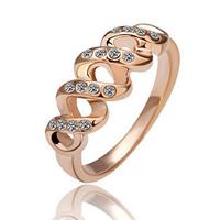comeon® Finger-Ring, Zinklegierung, echtes Rósegold plattiert, verschiedene Größen vorhanden & mit Strass, frei von Nickel und Blei, 8x3mm, verkauft von PC