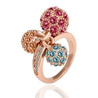 comeon® Finger-Ring, Zinklegierung, echtes Rósegold plattiert, verschiedene Größen vorhanden & mit Strass, frei von Nickel und Blei, 11mm, 8mm, 3mm, verkauft von PC