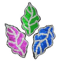 Nähen-auf Patch, Stoff, mit Kunststoff Pailletten, Blatt, gemischte Farben, 62x116x1mm, 99PCs/Tasche, verkauft von Tasche