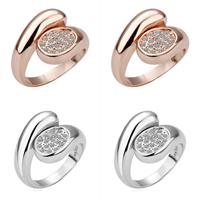 comeon® Finger-Ring, Zinklegierung, plattiert, mit Strass, keine, frei von Nickel und Blei, 16x20mm, Größe:8, verkauft von PC