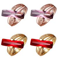 comeon® Finger-Ring, Messing, plattiert, mit kubischem Zirkonia, keine, frei von Nickel und Blei, 22x21mm, Größe:8, verkauft von PC