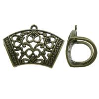 Zink-Legierung Schal Slide Bail, Zinklegierung, antike Bronzefarbe plattiert, frei von Blei & Kadmium, 43x31x20mm, Bohrung:ca. 2mm, Innendurchmesser:ca. 1.5mm, 10PCs/Tasche, verkauft von Tasche