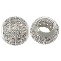 Messing European Perlen, Trommel, platiniert, Micro pave Zirkonia & ohne troll & hohl, frei von Nickel, Blei & Kadmium, 10x11mm, Bohrung:ca. 5mm, 10PCs/Menge, verkauft von Menge