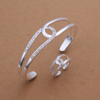 comeon® Schmuck-Set, Stulpearmband & Fingerring, Messing, versilbert, mit kubischem Zirkonia, frei von Nickel und Blei, 65mm, Größe:8, verkauft von setzen