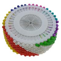 Eisen Nähen Pin, mit Kunststoff, rund, Platinfarbe platiniert, gemischte Farben, frei von Nickel, Blei & Kadmium, 4x37mm, 10Taschen/Menge, verkauft von Menge