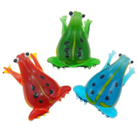 Mode Lampwork Anhänger, Frosch, handgemacht, gemischte Farben, 27x42x12.50mm, Bohrung:ca. 6-8mm, 12PCs/Box, verkauft von Box