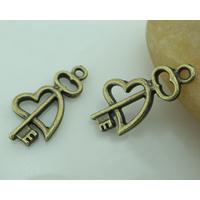 Zinklegierung Schlüssel Anhänger, Herz und Schlüssel, antike Bronzefarbe plattiert, frei von Nickel, Blei & Kadmium, 23x12mm, Bohrung:ca. 1-3mm, 600PCs/Menge, verkauft von Menge