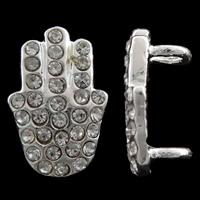 Hamsa Zinklegierung Schmuckverbinder, silberfarben plattiert, Jewelry Giúdach & Islam Schmuck & mit Strass & 1/1-Schleife, frei von Nickel, Blei & Kadmium, 9.50x13x6mm, Bohrung:ca. 3mm, 10PCs/Tasche, verkauft von Tasche