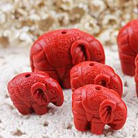 Zinnober Anhänger, Cinnabaris, Elephant, geschnitzed & verschiedene Größen vorhanden, Bohrung:ca. 1-2mm, 10PCs/Menge, verkauft von Menge