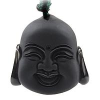 Schwarzer Obsidian Anhänger, Buddha, geschnitzed & verschiedene Größen vorhanden & satiniert, Bohrung:ca. 1-2mm, 3PCs/Menge, verkauft von Menge