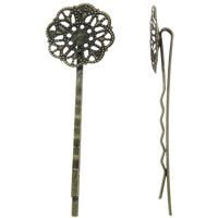 Haarklammer Zubehör, Eisen, Blume, antike Bronzefarbe plattiert, frei von Nickel, Blei & Kadmium, 20x63x6.50mm, 100PCs/Tasche, verkauft von Tasche