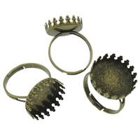 Eisen Ringschiene, flache Runde, antike Bronzefarbe plattiert, einstellbar, frei von Nickel, Blei & Kadmium, 16x4mm, Innendurchmesser:ca. 15mm, Größe:6.5, 100PCs/Tasche, verkauft von Tasche