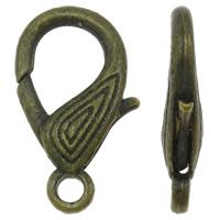 Zinklegierung Karabinerverschluss, antike Bronzefarbe plattiert, frei von Nickel, Blei & Kadmium, 17.50x29x5.50mm, Bohrung:ca. 3.5mm, 100PCs/Tasche, verkauft von Tasche