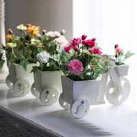 Seidenspinnerei Kunstblume, mit Holz & Kunststoff, Rose, gemischte Farben, 24x10x15cm, 2PCs/Menge, verkauft von Menge