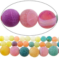 Natürliche Effloresce Achat Perlen, Auswitterung Achat, rund, Weitere Größen für Wahl, gemischte Farben, Bohrung:ca. 1-1.5mm, verkauft per ca. 15 ZollInch Strang