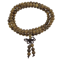 108 Mala Perlen, Huhn Wingwood, mit Nylonschnur, handgemacht, Weitere Größen für Wahl & 3-Strang, braun, ca. 108PCs/Strang, verkauft von Strang