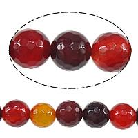 Natürlich rote Achat Perlen, Roter Achat, rund, facettierte, 10mm, Bohrung:ca. 1.2mm, Länge:ca. 14 ZollInch, 10SträngeStrang/Menge, ca. 38PCs/Strang, verkauft von Menge
