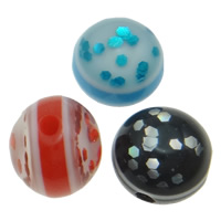 Harz Schmuckperlen, mit Kunststoff Pailletten, rund, verschiedene Größen vorhanden, gemischte Farben, Bohrung:ca. 1.5mm, 50PCs/Tasche, verkauft von Tasche
