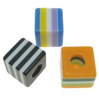 Gestreifte Harz Perlen, Würfel, Streifen, gemischte Farben, 8x8mm, Bohrung:ca. 4mm, 1000PCs/Tasche, verkauft von Tasche