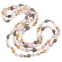 Natürliche kultivierte Süßwasserperlen Pullover Halskette, Barock, farbenfroh, 8-10mm, verkauft per ca. 56 ZollInch Strang
