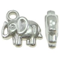 Verkupfertes Kunststoff Anhänger, Verkupferter Kunststoff, Elephant, Platinfarbe platiniert, frei von Blei & Kadmium, 12x11x3.50mm, Bohrung:ca. 2mm, 100PCs/Tasche, verkauft von Tasche