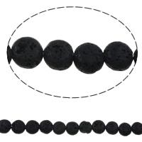Natürliche Lava Perlen, rund, schwarz, 10mm, Bohrung:ca. 1mm, ca. 38PCs/Strang, verkauft per ca. 15 ZollInch Strang