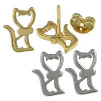 Edelstahl Ohrringe, Katze, plattiert, keine, 7x9.50x11mm, verkauft von Paar