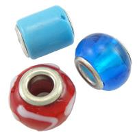 MischEuropa-Korne, Lampwork, handgemacht, Messing-Dual-Core ohne troll & gemischt, 10-15mm, Bohrung:ca. 4.5mm, 10PCs/Tasche, verkauft von Tasche