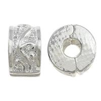 Messing European Clipverschluss, Rondell, Platinfarbe platiniert, frei von Nickel, Blei & Kadmium, 6x10mm, Bohrung:ca. 3mm, 100PCs/Menge, verkauft von Menge