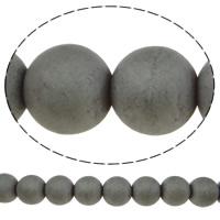Nicht-magnetische Hämatit Perlen, Non- magnetische Hämatit, rund, verschiedene Größen vorhanden & satiniert, grau, Bohrung:ca. 2mm, Länge:ca. 15.7 ZollInch, verkauft von Menge