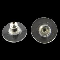 Eisen Ohrmutter Zubehör, mit Kunststoff, flache Runde, plattiert, keine, frei von Nickel, Blei & Kadmium, 11x6mm, Bohrung:ca. 1mm, 5000PCs/Tasche, verkauft von Tasche
