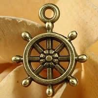 Zinklegierung Schiffsrad & Anker Anhänger, antike Bronzefarbe plattiert, nautische Muster, frei von Nickel, Blei & Kadmium, 18x16mm, Bohrung:ca. 1.5-2.5mm, 200PCs/Tasche, verkauft von Tasche