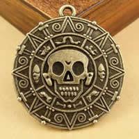 Zinklegierung flache runde Anhänger, antike Bronzefarbe plattiert, mit Totenkopf-Muster, frei von Nickel, Blei & Kadmium, 38mm, Bohrung:ca. 1.5-2.5mm, 20PCs/Tasche, verkauft von Tasche