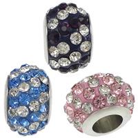 Strass Perlen European Stil, Edelstahl, mit Ton, Rondell, mit 70 Stück Strass & ohne troll, keine, 7-8x11-12mm, Bohrung:ca. 5mm, 50PCs/Menge, verkauft von Menge