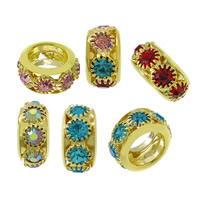 Messing European Perlen, Rondell, goldfarben plattiert, verschiedene Größen vorhanden & ohne troll & mit Strass, keine, frei von Nickel, Blei & Kadmium, Bohrung:ca. 5mm, 100PCs/Menge, verkauft von Menge