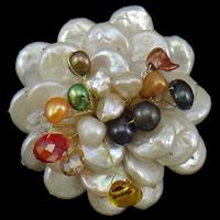 Pearl Shell Brosche, mit Perlen & Kristall & Eisen, Blume, natürlich, facettierte, farbenfroh, 50x52x28mm, verkauft von PC