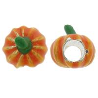 Halloween Schmuck Bead, Zinklegierung, Kürbis, Platinfarbe platiniert, ohne troll & Emaille, orange, frei von Nickel, Blei & Kadmium, 10x11mm, Bohrung:ca. 4.5mm, verkauft von PC