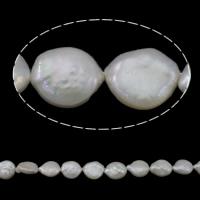 Münze Süßwasser Zuchtperlen, Natürliche kultivierte Süßwasserperlen, natürlich, weiß, Grade A, 10-11mm, Bohrung:ca. 0.8mm, verkauft per ca. 15.3 ZollInch Strang