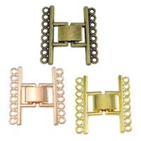 Zinklegierung Fold Over Verschluss, plattiert, 8-Strang, keine, frei von Nickel, Blei & Kadmium, 24x26x4mm, Bohrung:ca. 1mm, 150PCs/Menge, verkauft von Menge