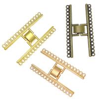 Zinklegierung Fold Over Verschluss, plattiert, 15-Strang, keine, frei von Nickel, Blei & Kadmium, 24x47x4mm, Bohrung:ca. 1mm, 150PCs/Menge, verkauft von Menge