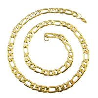 Halskette, Edelstahl, goldfarben plattiert, verschiedene Größen vorhanden & Figaro Kette, verkauft von Menge