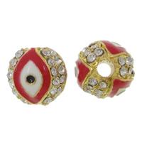 Zink Legierung Evil Eye Perlen, Zinklegierung, Trommel, goldfarben plattiert, Emaille & mit Strass, frei von Nickel, Blei & Kadmium, 9x9mm, Bohrung:ca. 2mm, 10PCs/Tasche, verkauft von Tasche