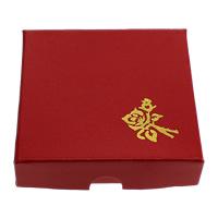 Karton Armbandkasten, mit Seide, Quadrat, mit Blumenmuster & Golddruck, rot, 87x87x20mm, 200PCs/Menge, verkauft von Menge