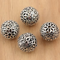 Bali Sterling Silber Perlen, Thailand, rund, hohl, 14mm, Bohrung:ca. 1.5mm, 5PCs/Tasche, verkauft von Tasche